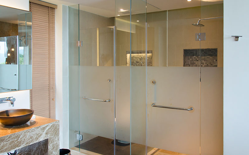 Decorative bathroom privacy film for glass